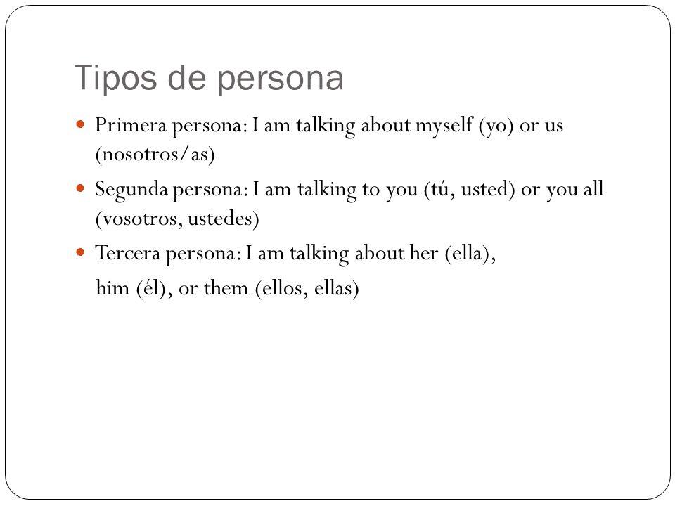 Tipos de persona Primera persona: I am talking about myself (yo) or us (nosotros/as)