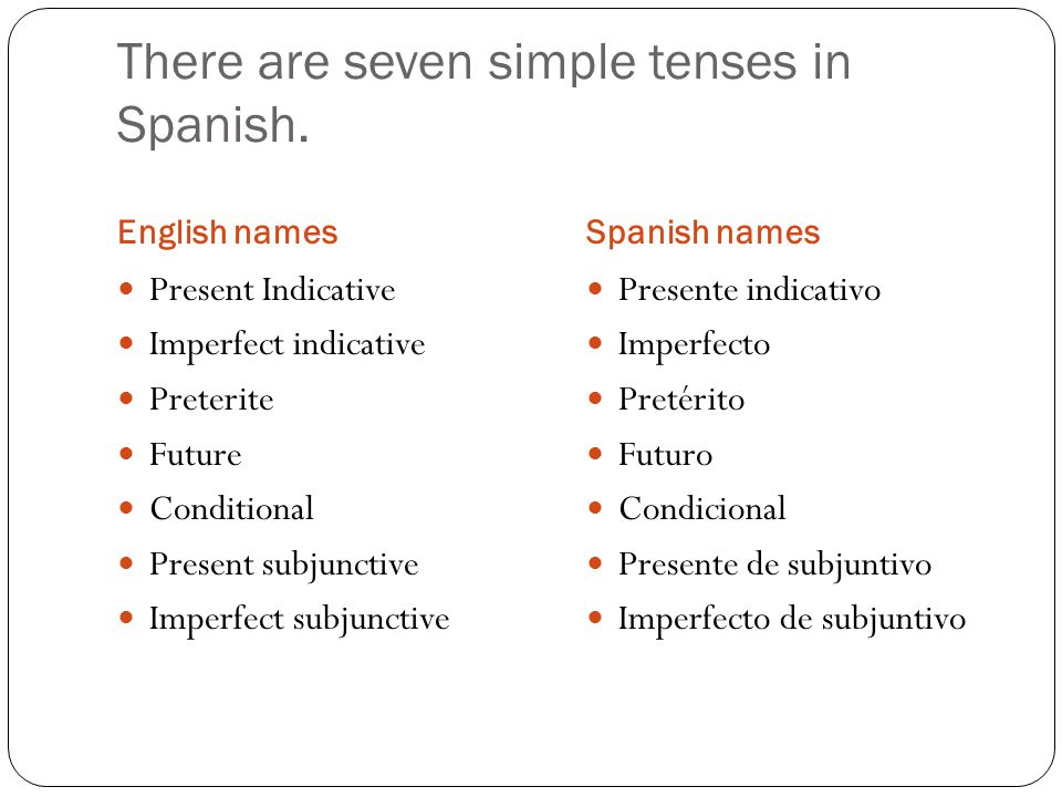 There are seven simple tenses in Spanish.