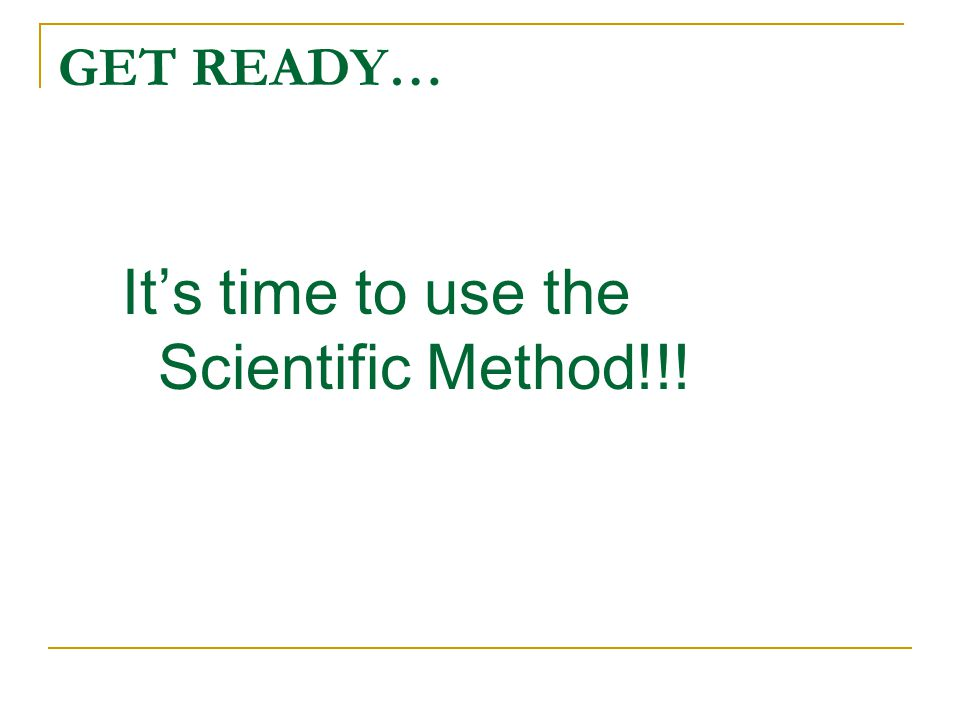 It's time to use the Scientific Method!!!