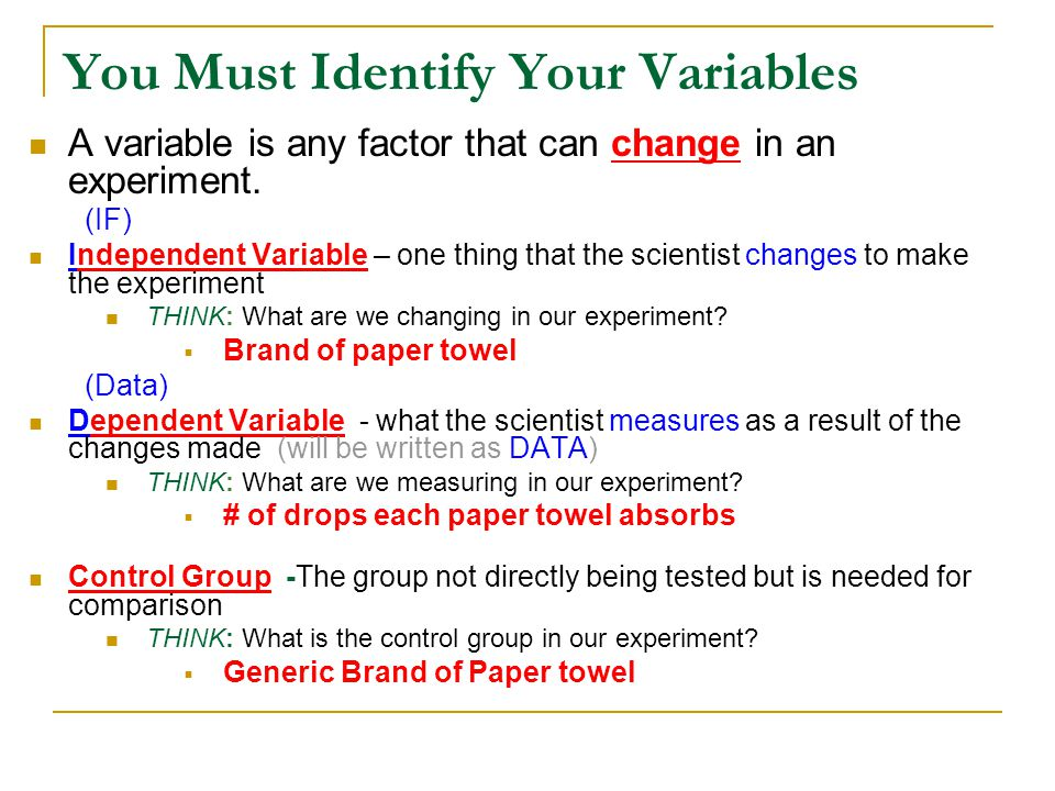 You Must Identify Your Variables