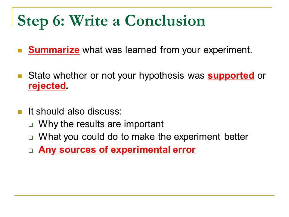 Step 6: Write a Conclusion