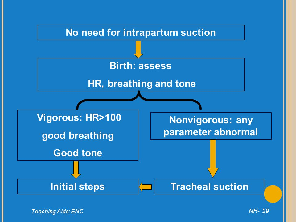 No need for intrapartum suction Nonvigorous: any parameter abnormal