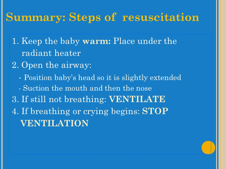 Summary: Steps of resuscitation