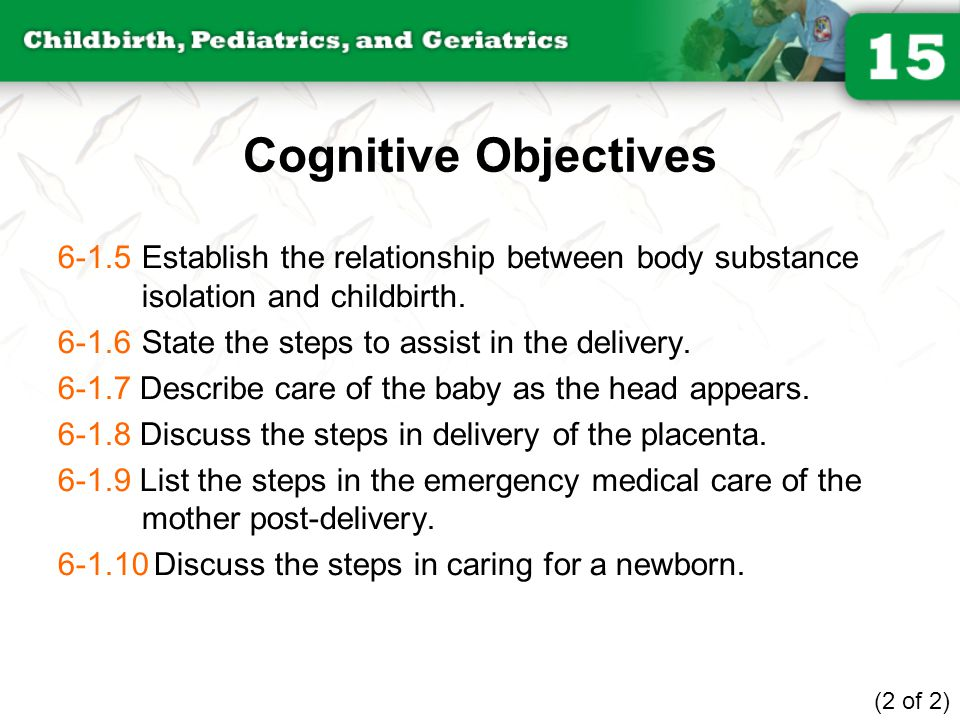 Cognitive Objectives 6-1.5 Establish the relationship between body substance isolation and childbirth.