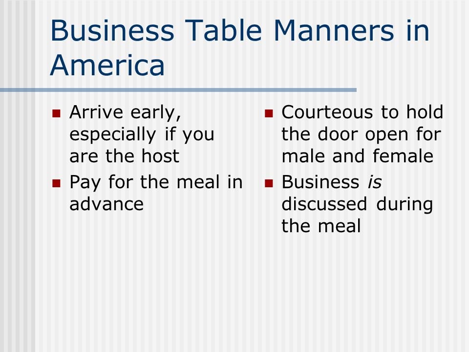 Business Table Manners in America