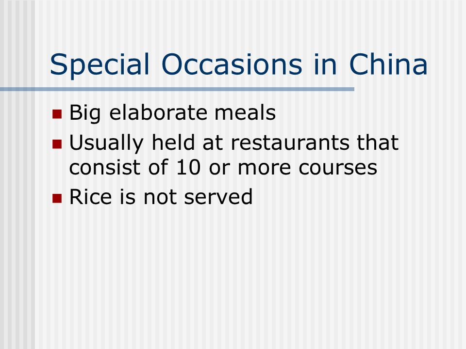 Special Occasions in China