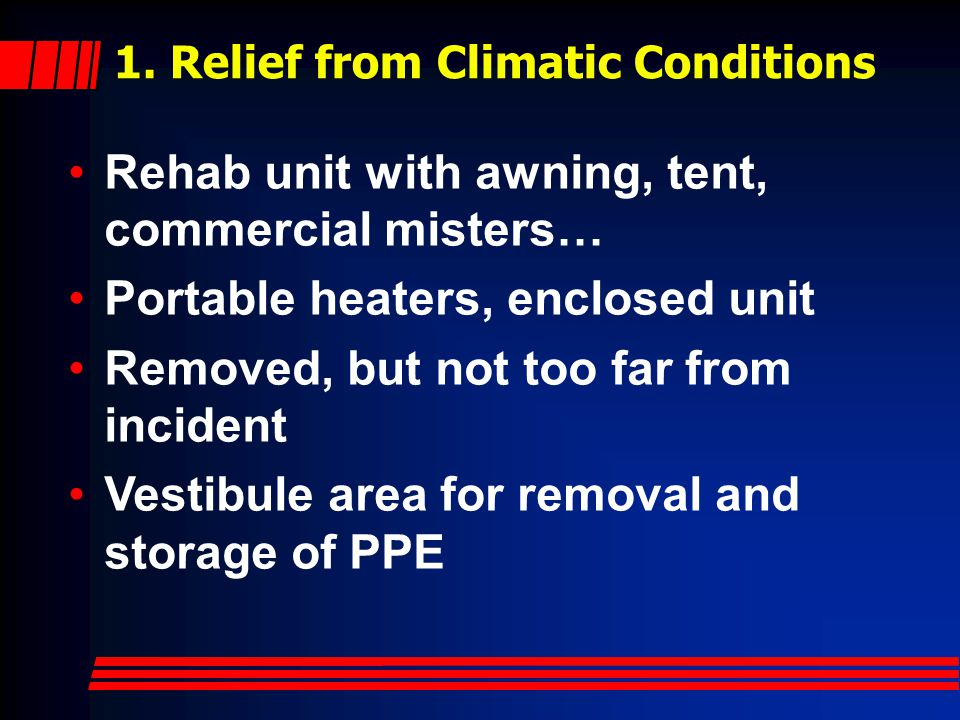 1. Relief from Climatic Conditions