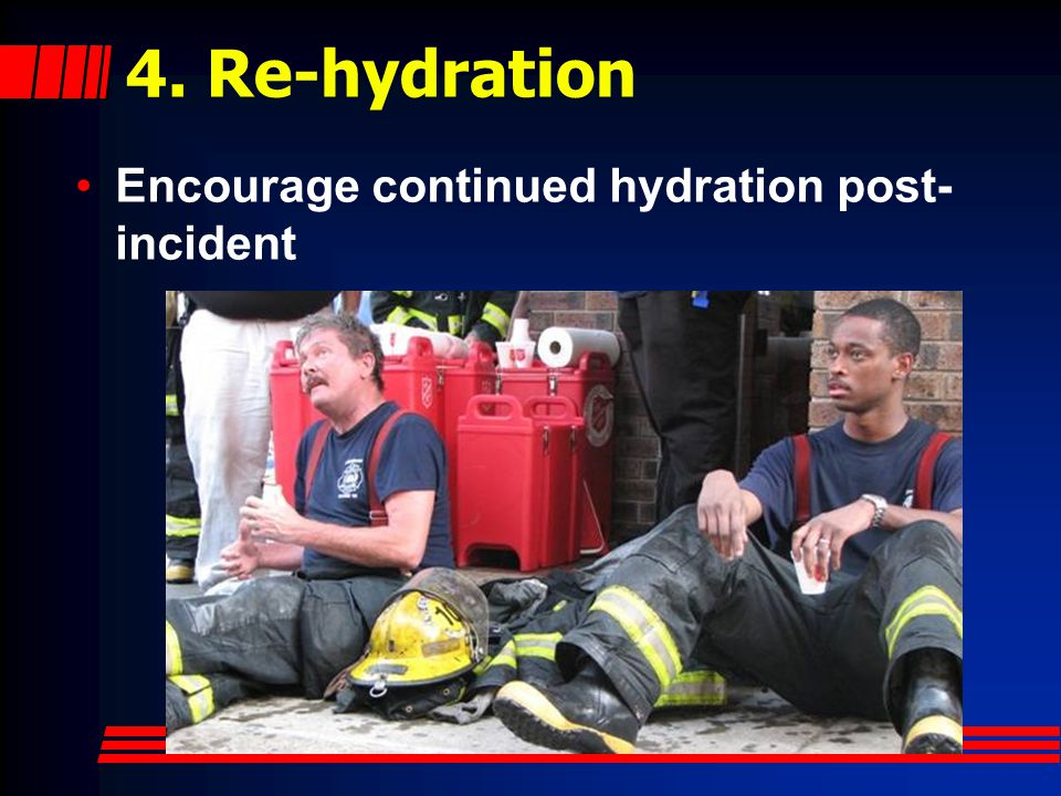 4. Re-hydration Encourage continued hydration post-incident