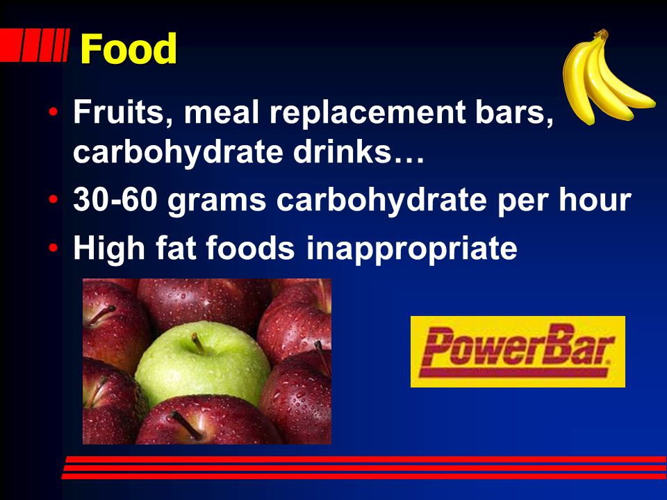 Food Fruits, meal replacement bars, carbohydrate drinks…