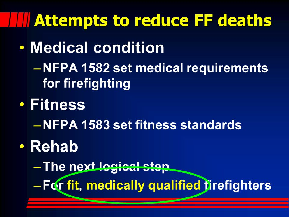 Attempts to reduce FF deaths
