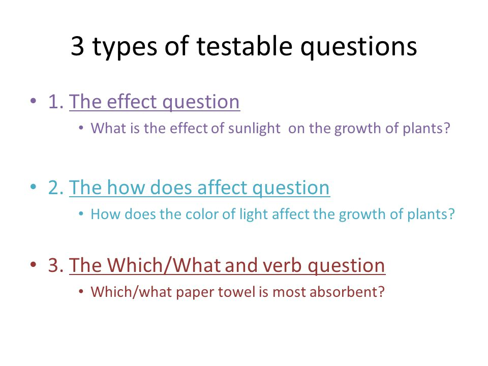 3 types of testable questions