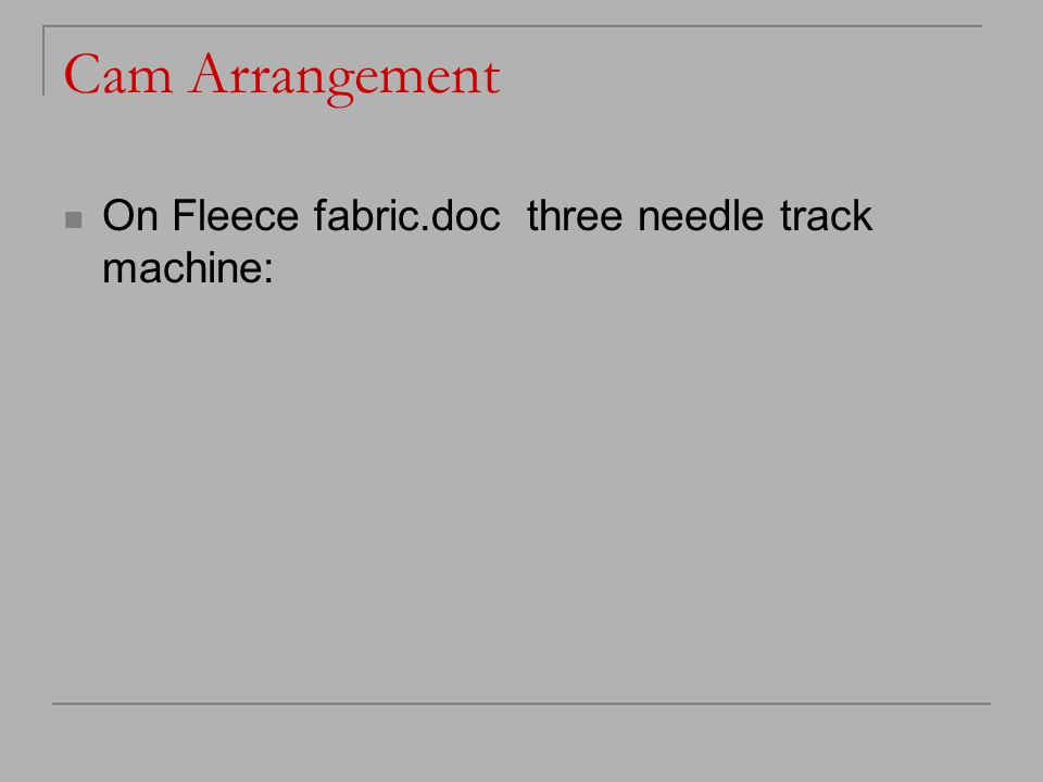 Cam Arrangement On Fleece fabric.doc three needle track machine:
