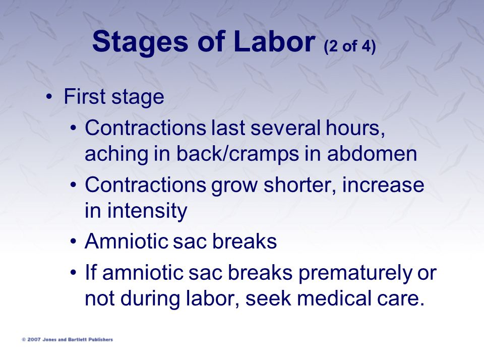 Stages of Labor (2 of 4) First stage