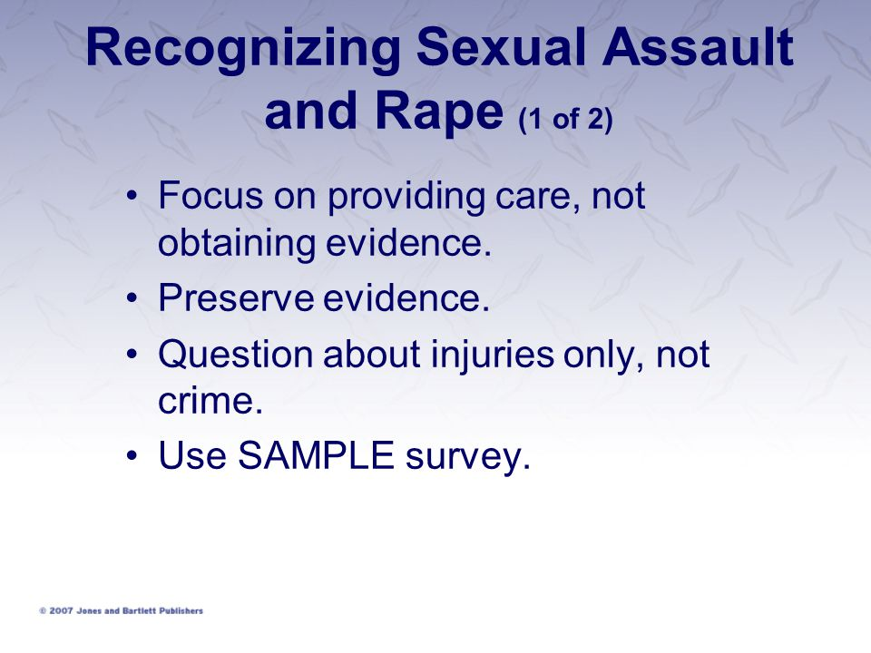 Recognizing Sexual Assault and Rape (1 of 2)