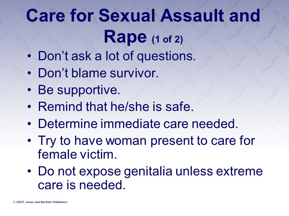 Care for Sexual Assault and Rape (1 of 2)