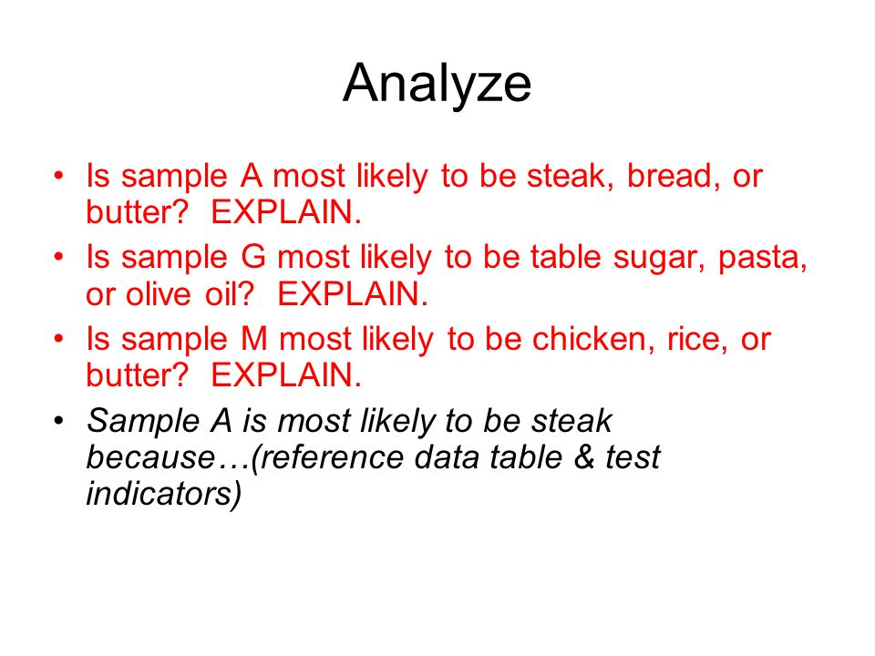 Analyze Is sample A most likely to be steak, bread, or butter EXPLAIN. Is sample G most likely to be table sugar, pasta, or olive oil EXPLAIN.