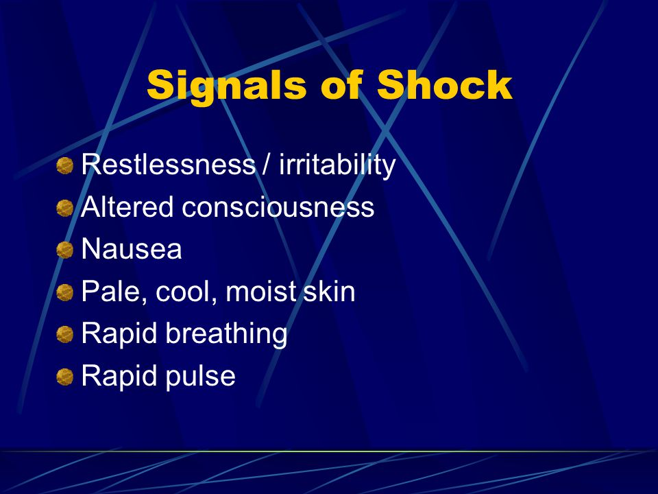 Signals of Shock Restlessness / irritability Altered consciousness
