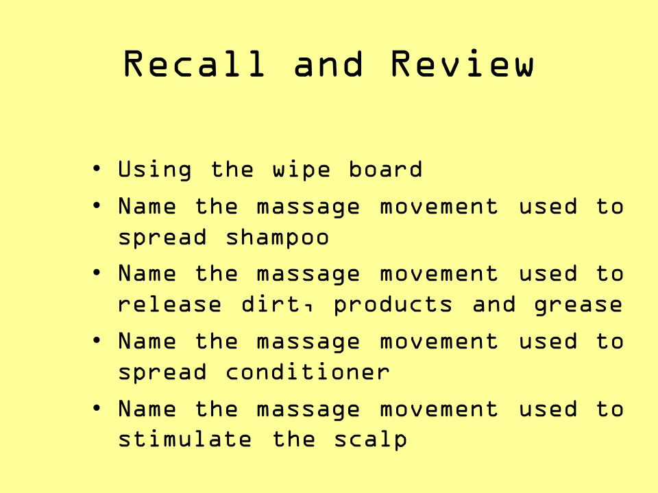 Recall and Review Using the wipe board