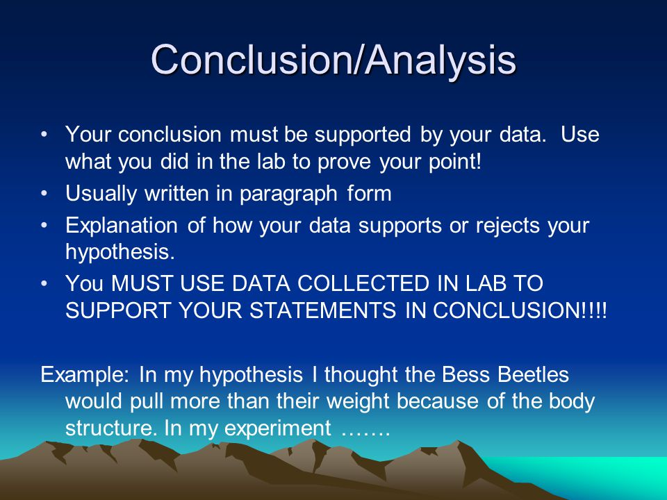 How to write an analysis and conclusion for lab report