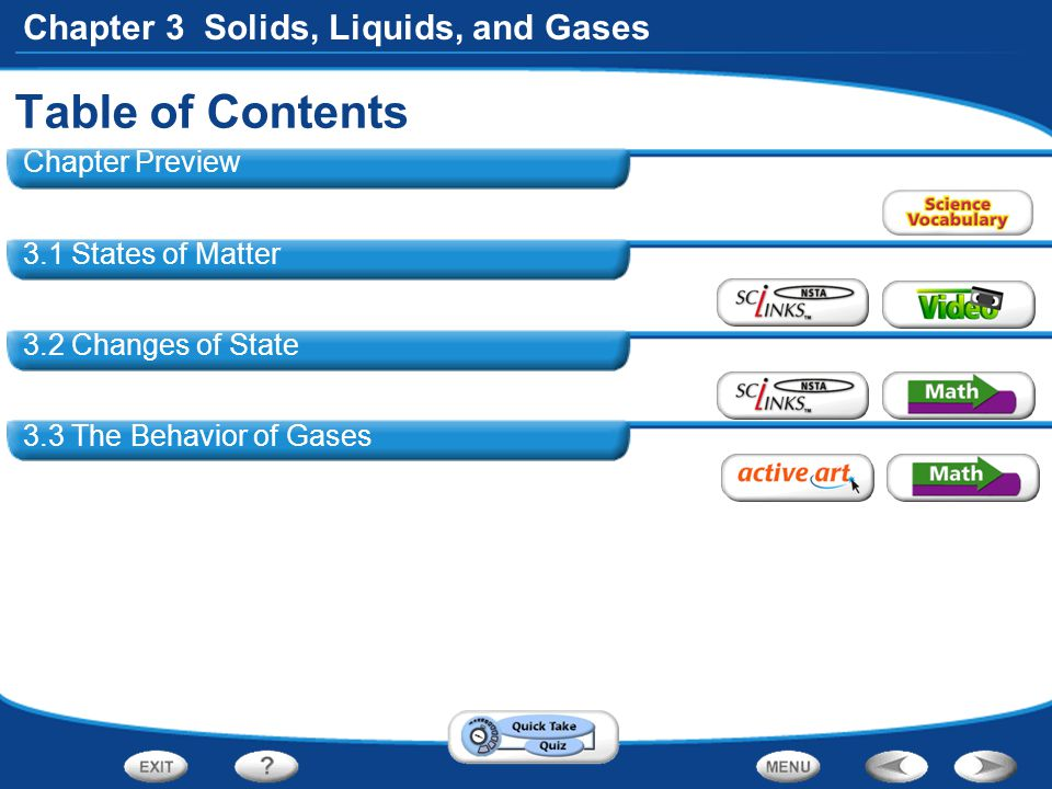 Table of Contents Chapter Preview 3.1 States of Matter
