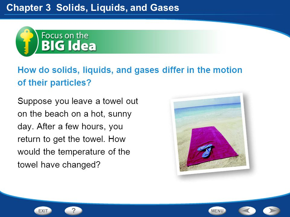 How do solids, liquids, and gases differ in the motion