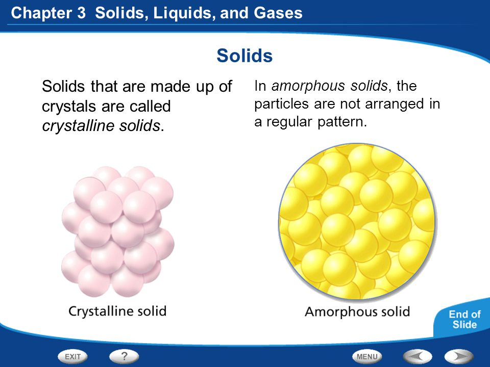Solids Solids that are made up of crystals are called crystalline solids.