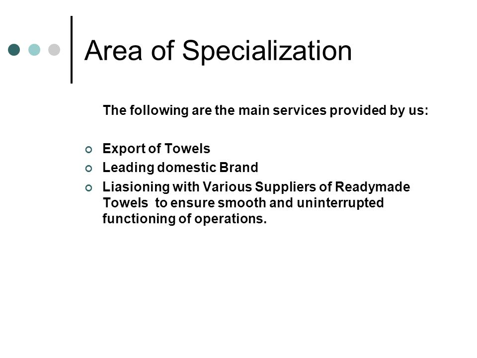 Area of Specialization
