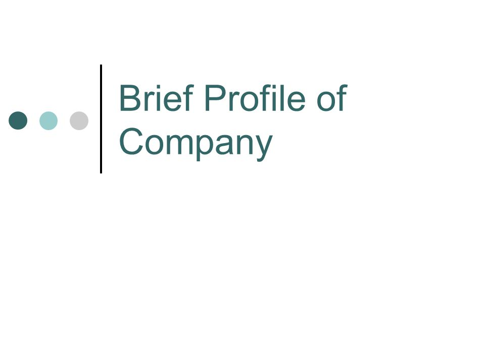 Brief Profile of Company