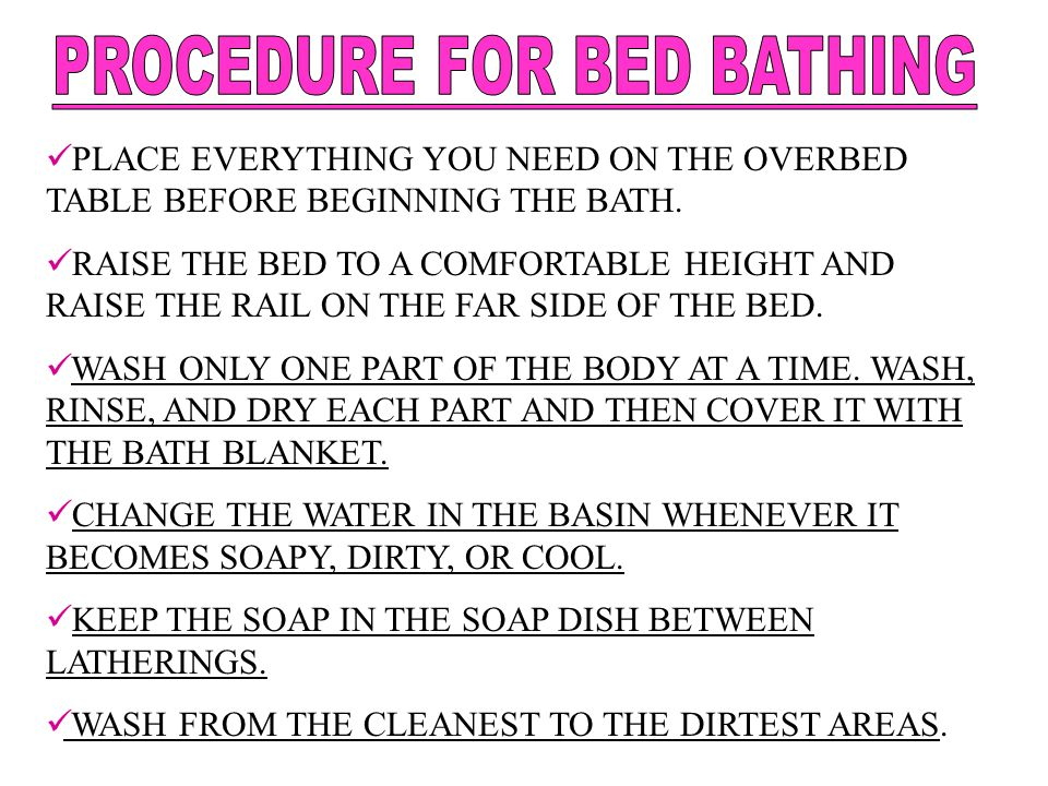 PROCEDURE FOR BED BATHING