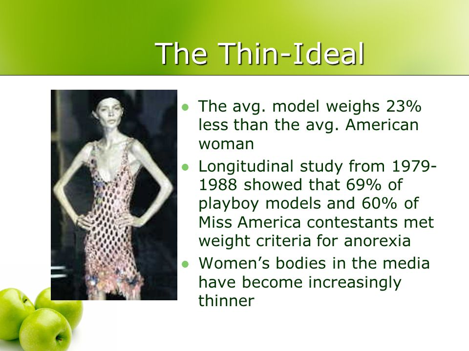 The Thin-Ideal The avg. model weighs 23% less than the avg. American woman.