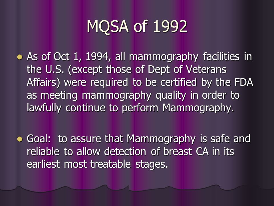 MQSA of 1992