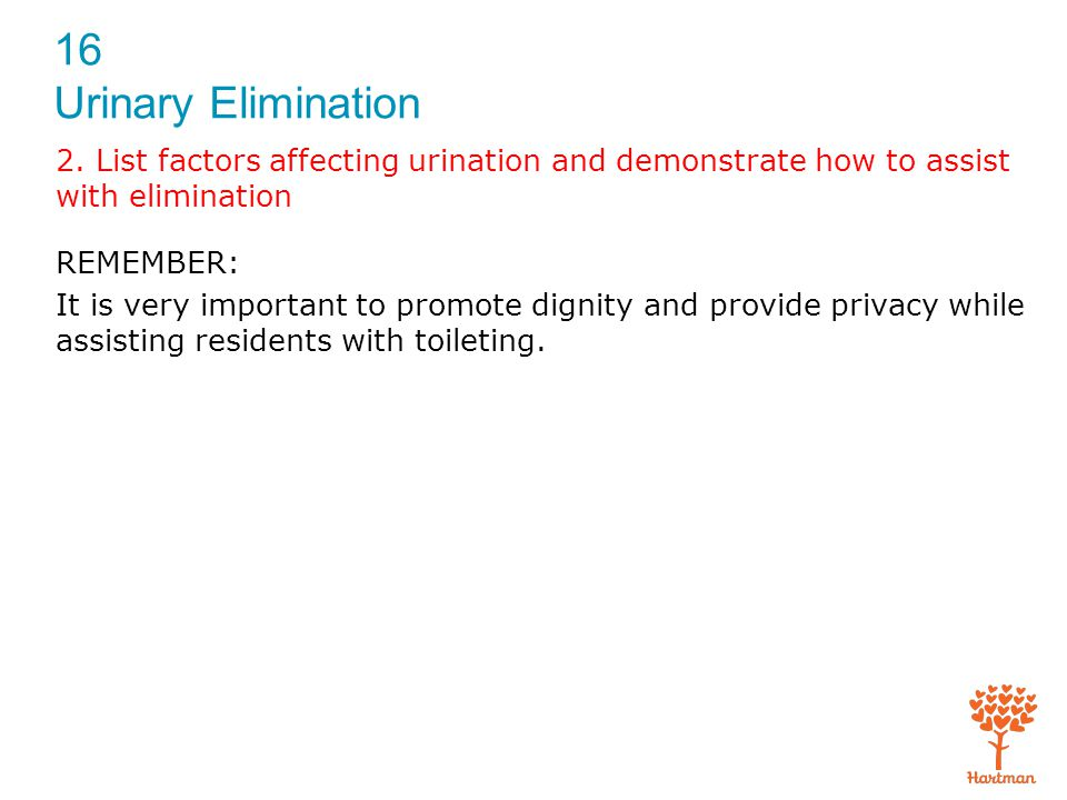 2. List factors affecting urination and demonstrate how to assist with elimination