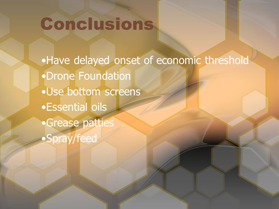 Conclusions Have delayed onset of economic threshold Drone Foundation