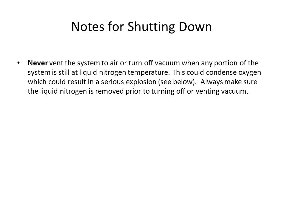 Notes for Shutting Down