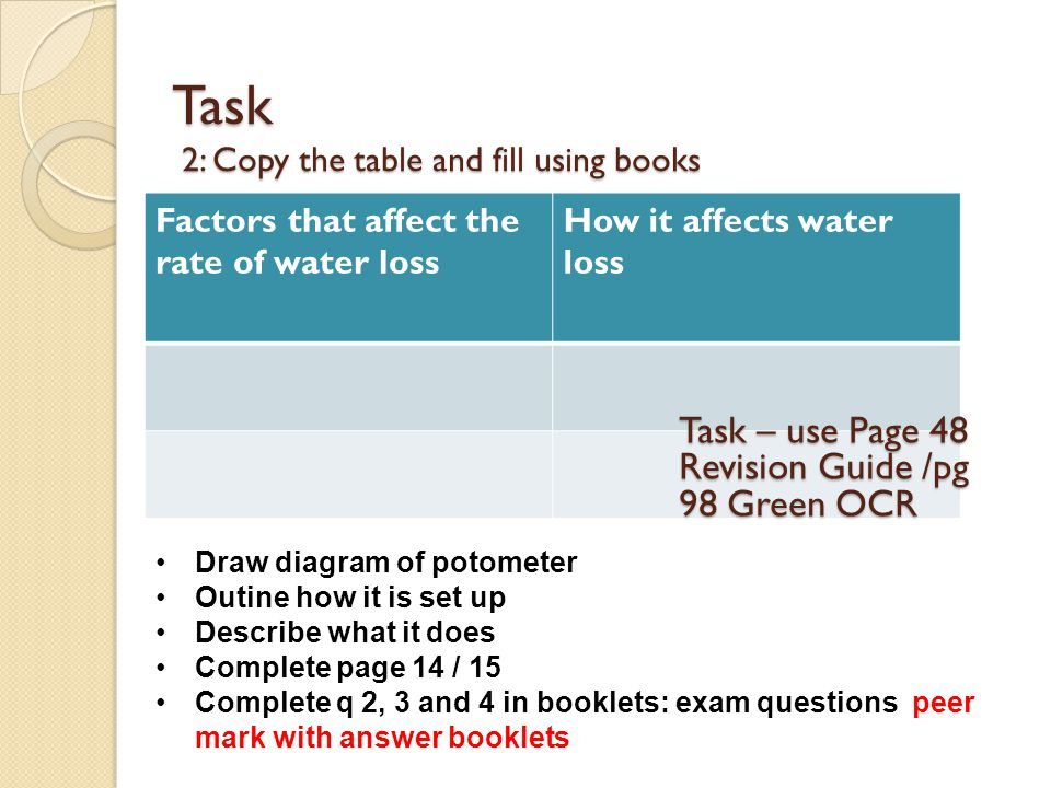 Task 2: Copy the table and fill using books