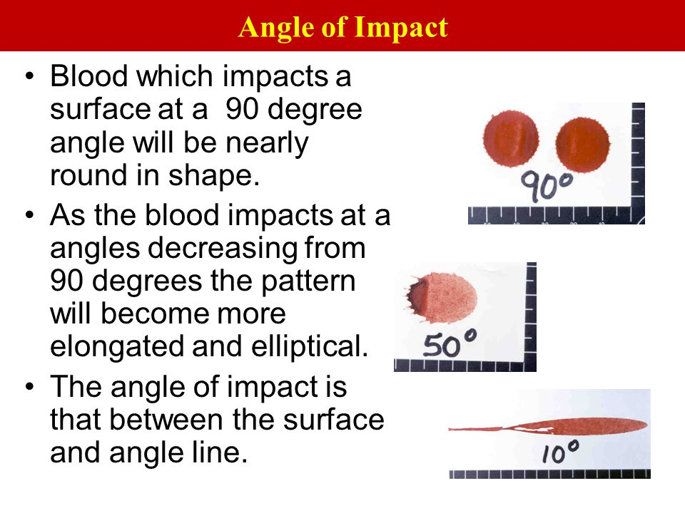 Angle of Impact Blood which impacts a surface at a 90 degree angle will be nearly round in shape.