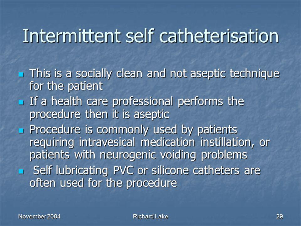 Intermittent self catheterisation