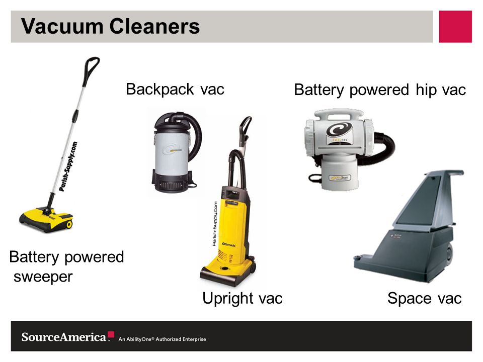Vacuum Cleaners Backpack vac Battery powered hip vac Battery powered