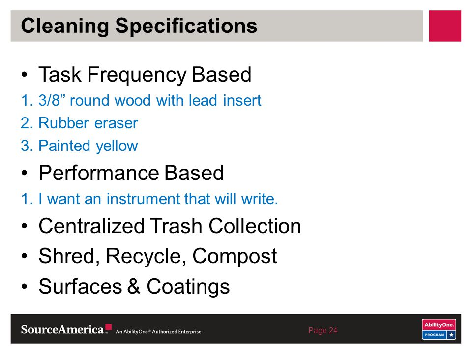 Cleaning Specifications