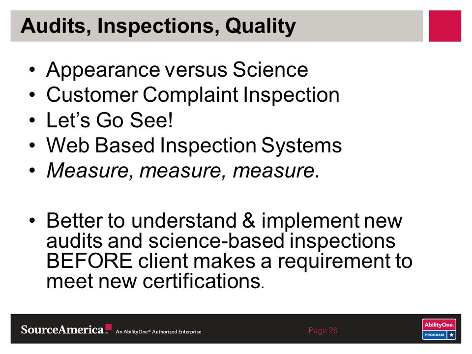 Audits, Inspections, Quality