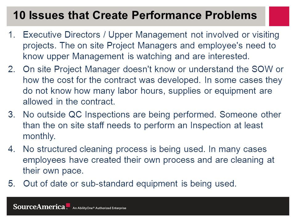 10 Issues that Create Performance Problems
