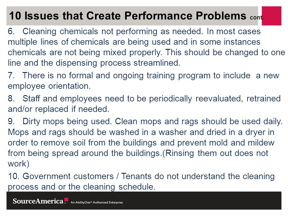 10 Issues that Create Performance Problems cont.