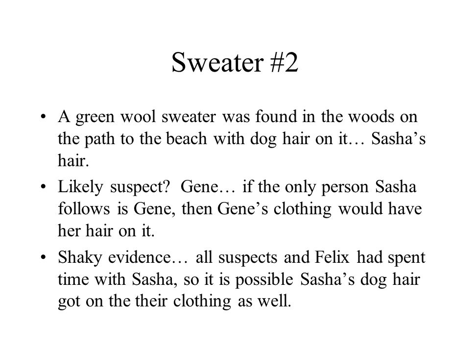 Sweater #2 A green wool sweater was found in the woods on the path to the beach with dog hair on it… Sasha's hair.