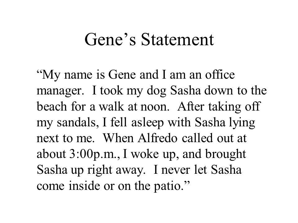 Gene's Statement