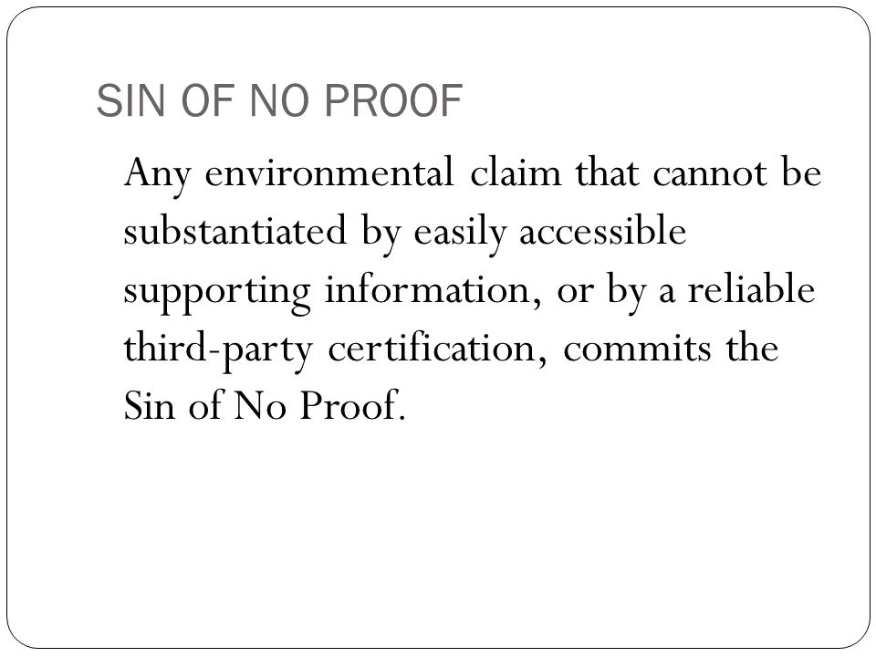 SIN OF NO PROOF