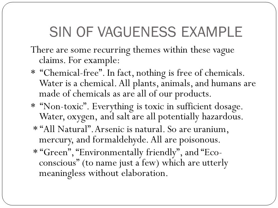 SIN OF VAGUENESS EXAMPLE
