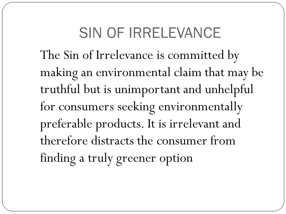 SIN OF IRRELEVANCE