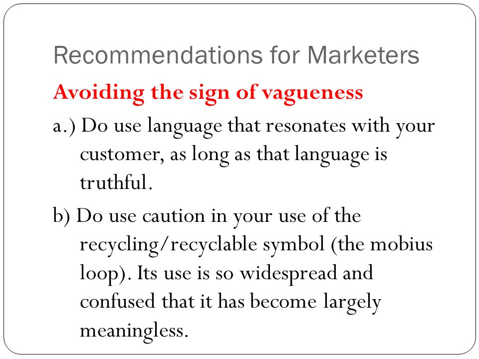 Recommendations for Marketers