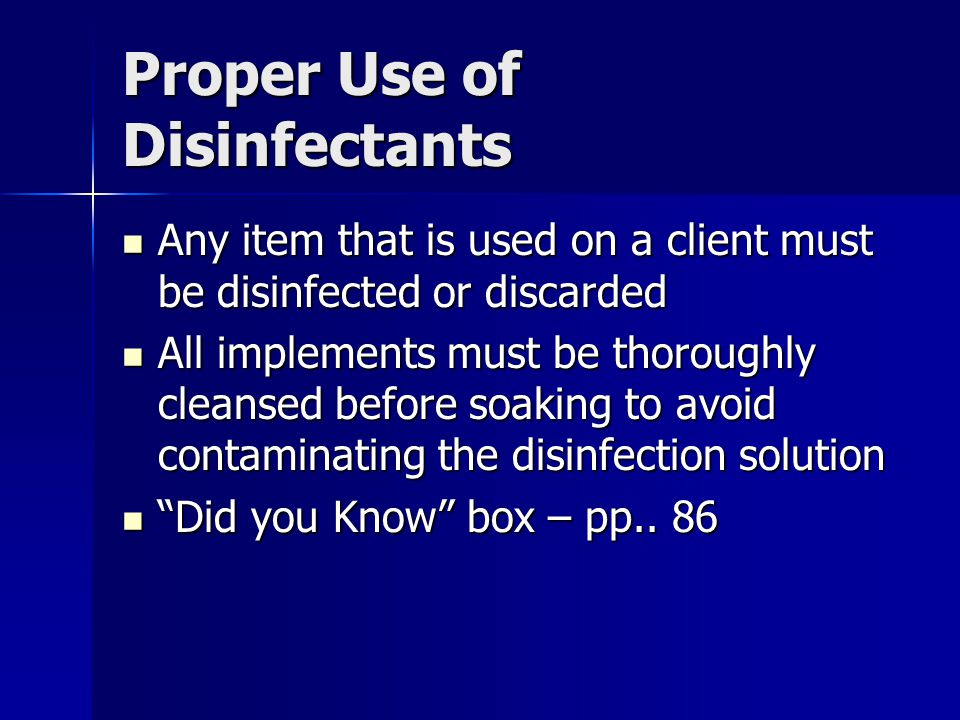 Proper Use of Disinfectants