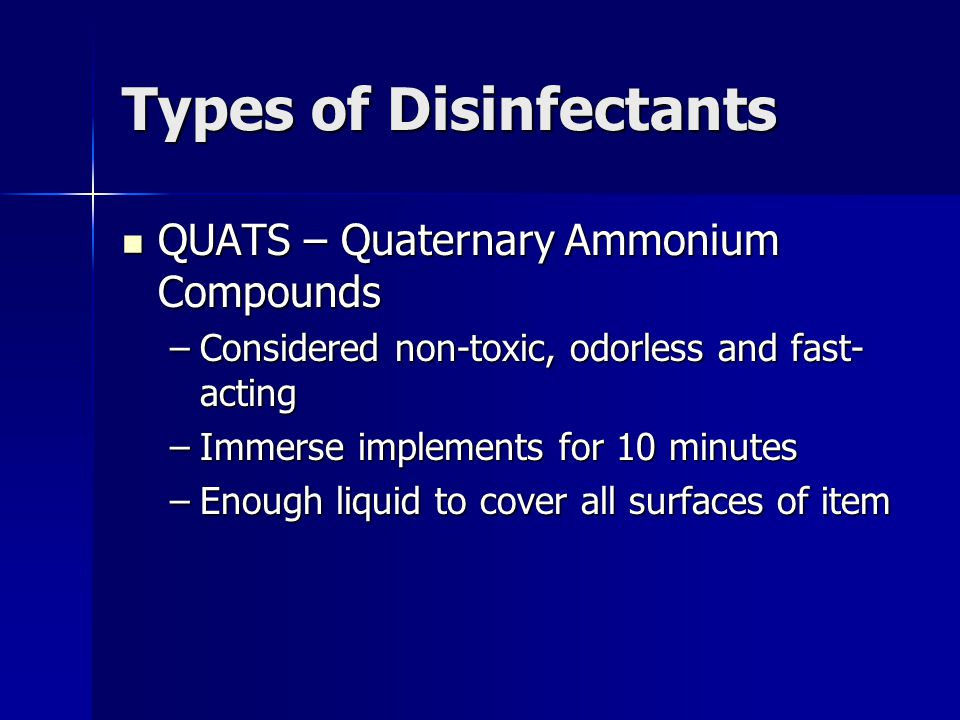 Types of Disinfectants